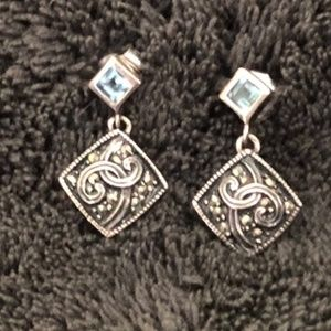 Dainty Sterling Silver Blue Topaz Marcasite Dangle